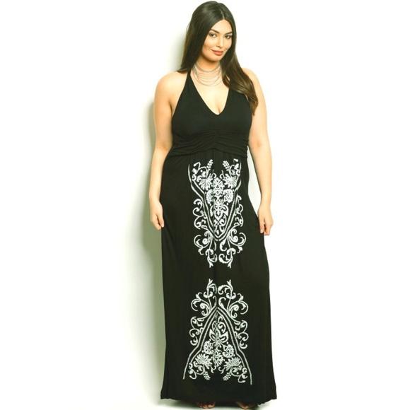 Dresses | Plus Size Black Jersey Floral Long Maxi Dress | Poshmark